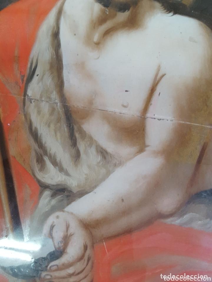 Arte: ÓLEO BAJO CRISTAL S.XVIII CORNUCOPIA MADERA - Foto 3 - 172319122