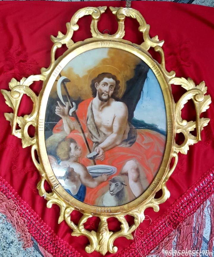 ÓLEO BAJO CRISTAL S.XVIII CORNUCOPIA MADERA (Arte - Arte Religioso - Pintura Religiosa - Oleo)