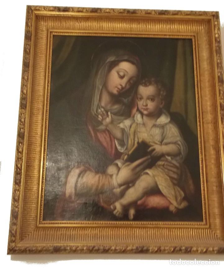 ANTIGUO OLEO SOBRE TAPIZ VIRGEN CON NIÑO (Arte - Arte Religioso - Pintura Religiosa - Oleo)