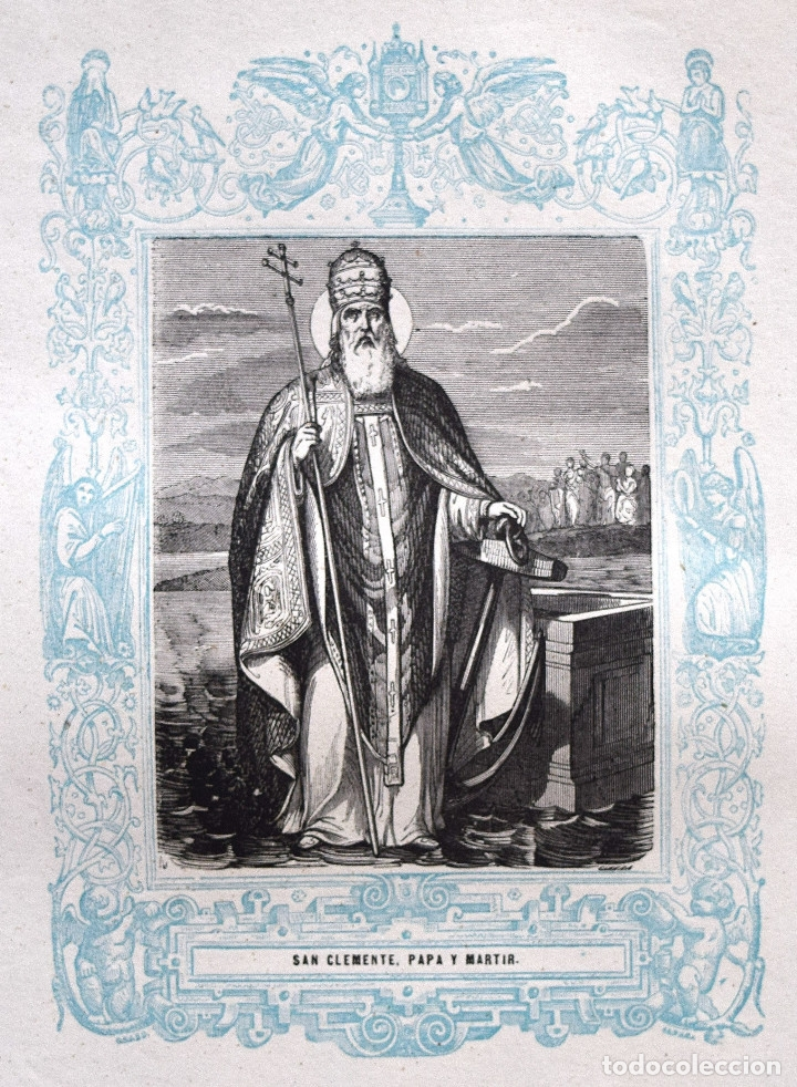 SAN CLEMENTE, PAPA Y MARTIR - GRABADO DÉCADAS 1850-1860 - BUEN ESTADO (Arte - Arte Religioso - Grabados)