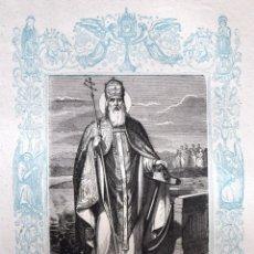Arte: SAN CLEMENTE, PAPA Y MARTIR - GRABADO DÉCADAS 1850-1860 - BUEN ESTADO. Lote 172356978