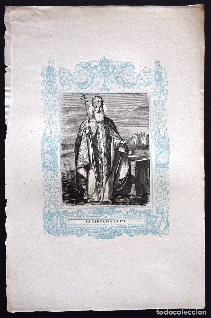 Arte: SAN CLEMENTE, PAPA Y MARTIR - GRABADO DÉCADAS 1850-1860 - BUEN ESTADO - Foto 2 - 172356978