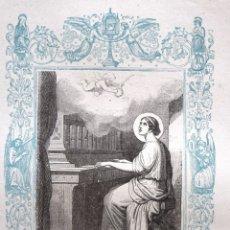 Arte: SANTA CECILIA, VIRGEN Y MARTIR - GRABADO DÉCADAS 1850-1860 - BUEN ESTADO. Lote 172357054