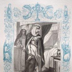 Arte: SANTA MARGARITA, REINA DE ESCOCIA - GRABADO DÉCADAS 1850-1860 - BUEN ESTADO. Lote 172357510