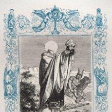 Arte: SAN LAUREANO, ARZOBISPO DE SEVILLA - GRABADO DÉCADAS 1850-1860 - BUEN ESTADO. Lote 184735036