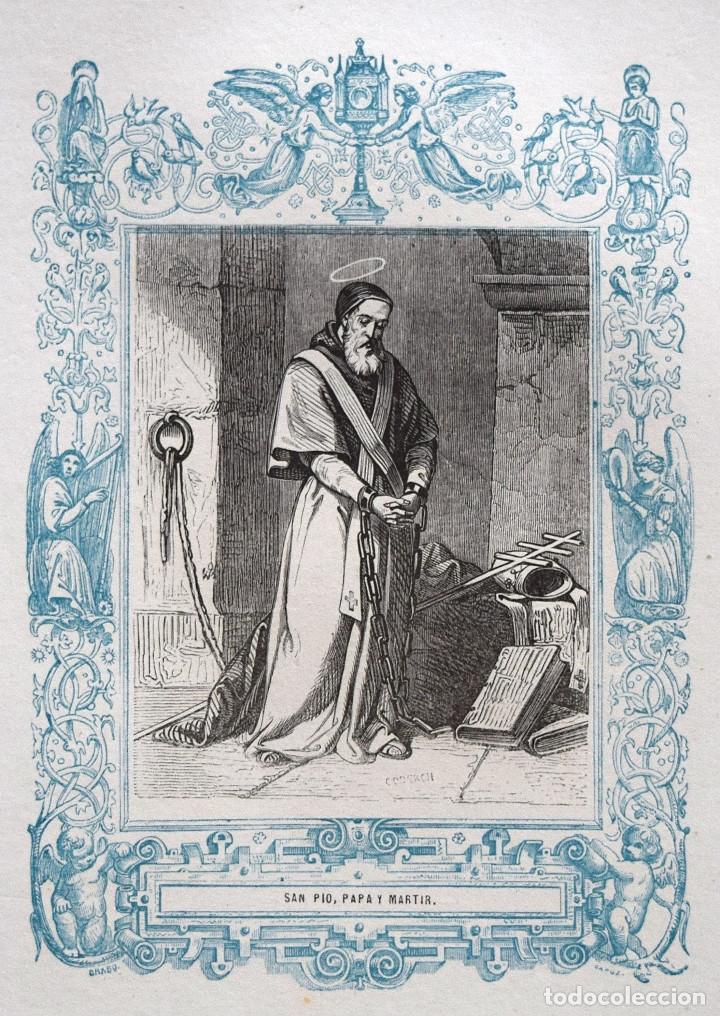 SAN PÍO, PAPA Y MARTIR - GRABADO DÉCADAS 1850-1860 - BUEN ESTADO (Arte - Arte Religioso - Grabados)