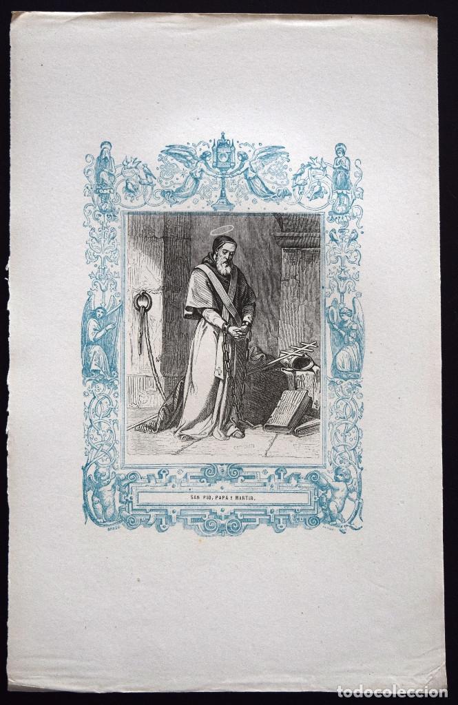 Arte: SAN PÍO, PAPA Y MARTIR - GRABADO DÉCADAS 1850-1860 - BUEN ESTADO - Foto 2 - 172358194