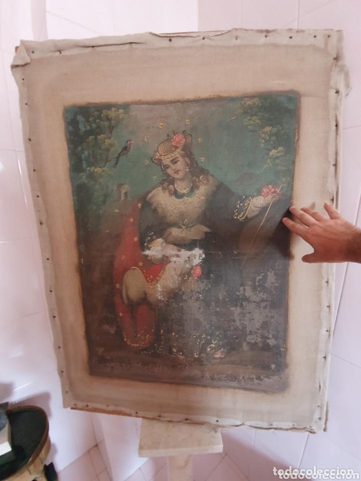 Arte: OLEO PINTADO SOBRE LIENZO DE LA DIVINA PASTORA S XVIII-XIX POR FAVOR LEER DESCRIPCIÓN - Foto 8 - 172394347