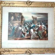 Arte: LOS HEBREOS ADORAN EL BECERRO DE ORO - LITOGRAFIA ILUMINADA A MANO - BULLA FRERES - PARIS CIRCA.1850. Lote 172402118