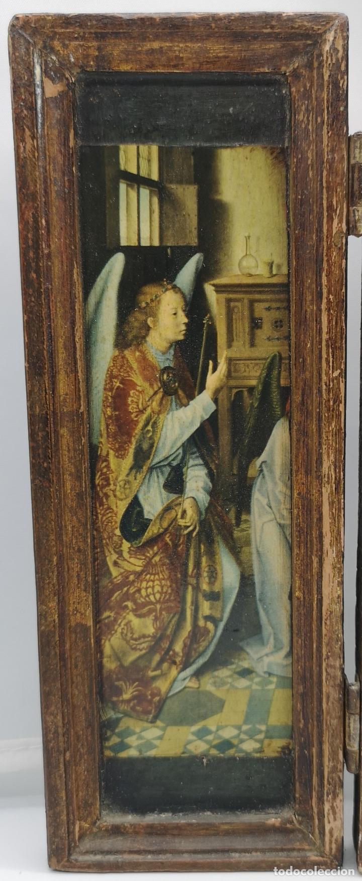 Arte: Bello tríptico antiguo con bellas litografías religiosas sobre madera . - Foto 4 - 172417325