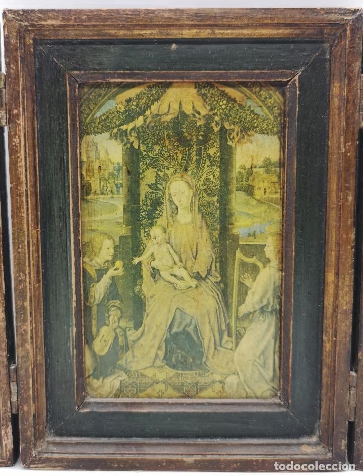 Arte: Bello tríptico antiguo con bellas litografías religiosas sobre madera . - Foto 5 - 172417325