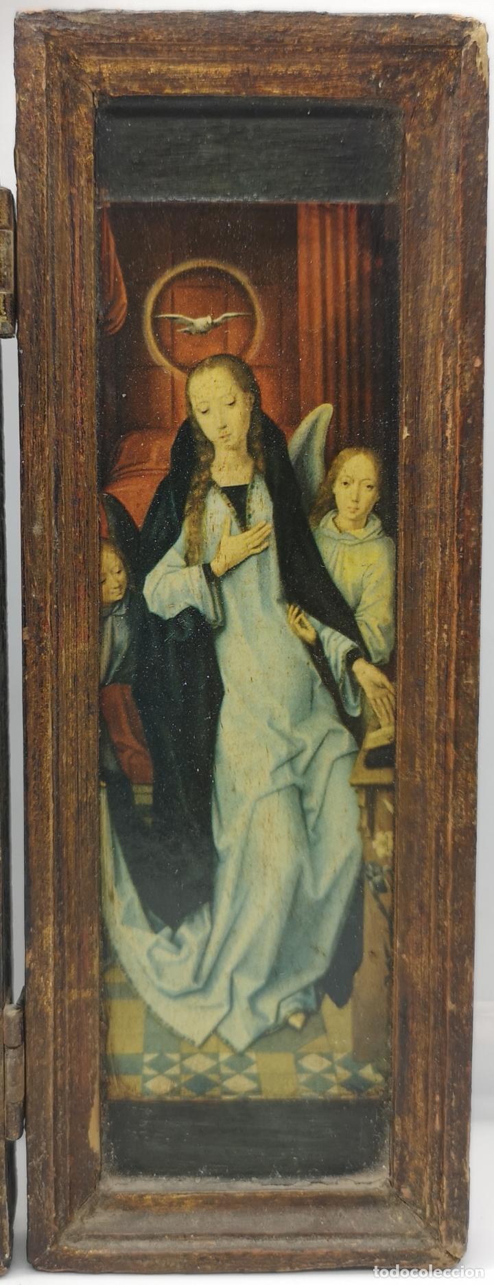 Arte: Bello tríptico antiguo con bellas litografías religiosas sobre madera . - Foto 6 - 172417325