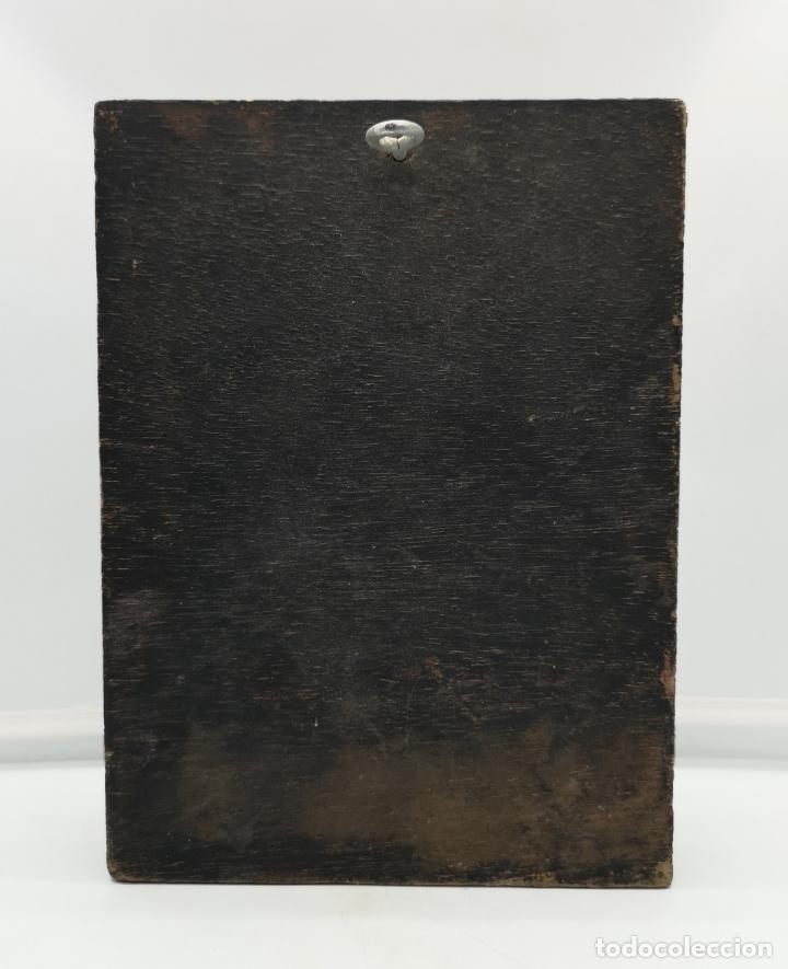 Arte: Bello tríptico antiguo con bellas litografías religiosas sobre madera . - Foto 7 - 172417325