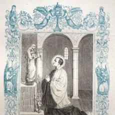 Arte: SAN LUIS GONZAGA, CONFESOR - GRABADO DÉCADAS 1850-1860 - BUEN ESTADO. Lote 172419992
