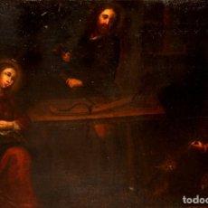 Arte: ESCUELA ESPAÑOLA DEL SIGLO XVIII OLEO SOBRE TELA. LA SAGRADA FAMILIA EN SU TALLER DE CARPINTERIA. Lote 172472324