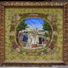Arte: SAN JULIÁN OBISPO DE CUENCA, AÑO 1861. GRAN BORDADO 74X80CM. MARCO: 90X96 CM.. Lote 172599825