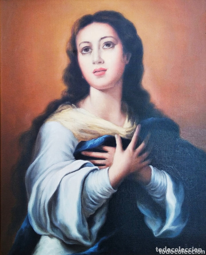 CUADRO LIENZO VIRGEN INMACULADA CONCEPCIÓN (Arte - Arte Religioso - Pintura Religiosa - Oleo)