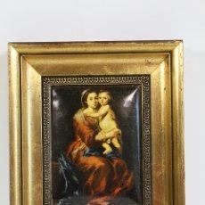 Arte: VIRGEN CON NIÑO - MURILLO - LAMINA ESMALTADA. Lote 172666582