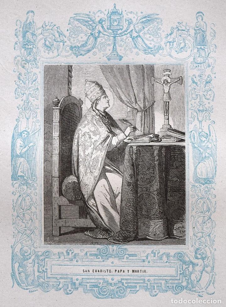 SAN EVARISTO, PAPA Y MARTIR - GRABADO DÉCADAS 1850-1860 - BUEN ESTADO (Arte - Arte Religioso - Grabados)