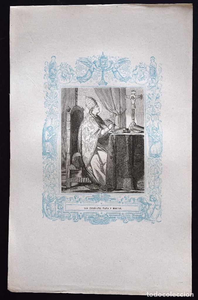 Arte: SAN EVARISTO, PAPA Y MARTIR - GRABADO DÉCADAS 1850-1860 - BUEN ESTADO - Foto 2 - 172670230