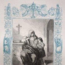 Arte: SAN QUIRICO Y SANTA JULITA, MÁRTIRES - GRABADO DÉCADAS 1850-1860 - BUEN ESTADO. Lote 172670498