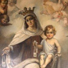 Arte: ÓLEO SOBRE LIENZO VIRGEN CON NIÑO Y ANGELES - M.DIAGO. Lote 172673344
