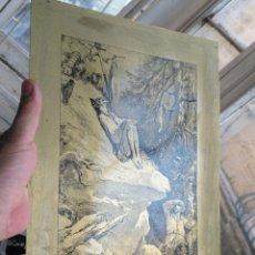 Arte: GRABADO EL QUIJOTE , DON QUIJOTE , LAMINA PLACA DE METAL - DORE ?? 33,2 CM X 24.1 CM . Lote 172713298