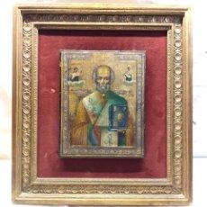 Arte: SAN NICOLAS ORTODOXO RUSO ICONO OLEO SOBRE MADERA S XIX. MED. 36 X 40 CM. Lote 172729193