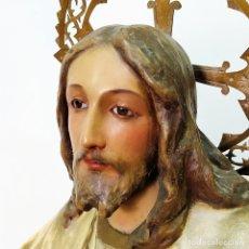 Arte: JESÚS ENTRONIZADO. ESTUCO POLICROMADO. PROBABLE PRODUCCIÓN DE OLOT. ESPAÑA. FIN XIX. Lote 172759583