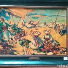 Arte: PLAYA DE MARRUECOS , PINTADO POR RAMON PUYOL. Lote 172759689