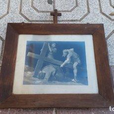Arte: CUADRO ANTIGUO DE IGLESÍA CON LÁMINA ANTIGUA ESCENA PASIÓN DE CRISTO JESUCRISTO, JESÚS DE NAZARET.. Lote 172791223
