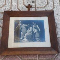 Arte: CUADRO ANTIGUO DE IGLESÍA CON LÁMINA ANTIGUA ESCENA PASIÓN DE CRISTO JESUCRISTO, JESÚS DE NAZARET.. Lote 172791622