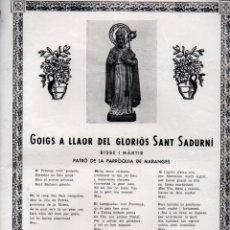 Arte: GOIGS A LLAOR DEL GLORIÓS SANT SADURNÍ (IMP. BALMES, S.F.). Lote 183549461