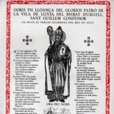 Arte: GOIGS EN LLOANÇA DE SANT GUILLEM, PATRÓ DE LA VILA DE LLÍVIA (1962). Lote 172852683