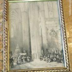 Arte: 34X26.5 CORPUS CHRISTI CATEDRAL SEVILLA MARCO MADERA DORADA Y CRISTAL LEER - GRABADO O LITOGRAFIA. Lote 172858460
