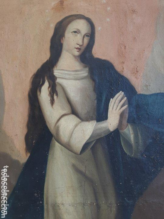Arte: INMACULADA OLEO/LIENZO SIGLO XVIII, PARA RESTAURAR - Foto 3 - 173057342