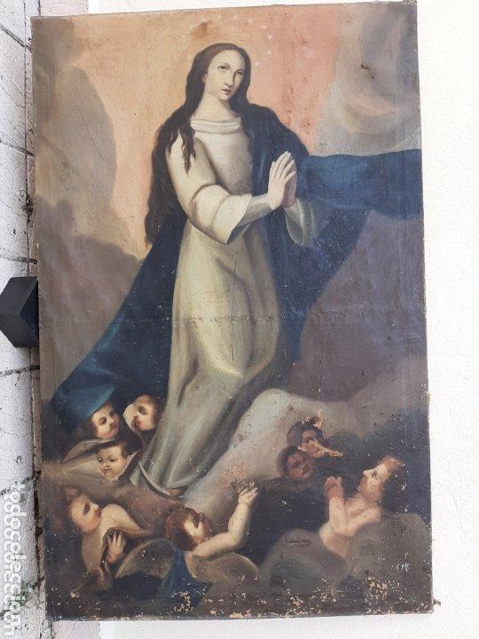 INMACULADA OLEO/LIENZO SIGLO XVIII, PARA RESTAURAR (Arte - Arte Religioso - Pintura Religiosa - Oleo)