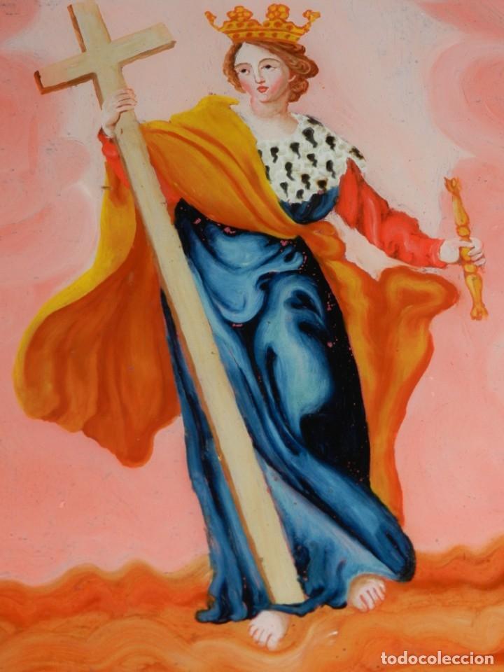 (M) CRISTAL PINTADO VIRGEN SIGLO XVIII - XIX 30,5X21,5 CM, SEÑALES DE USO NORMALES (Arte - Arte Religioso - Pintura Religiosa - Otros)