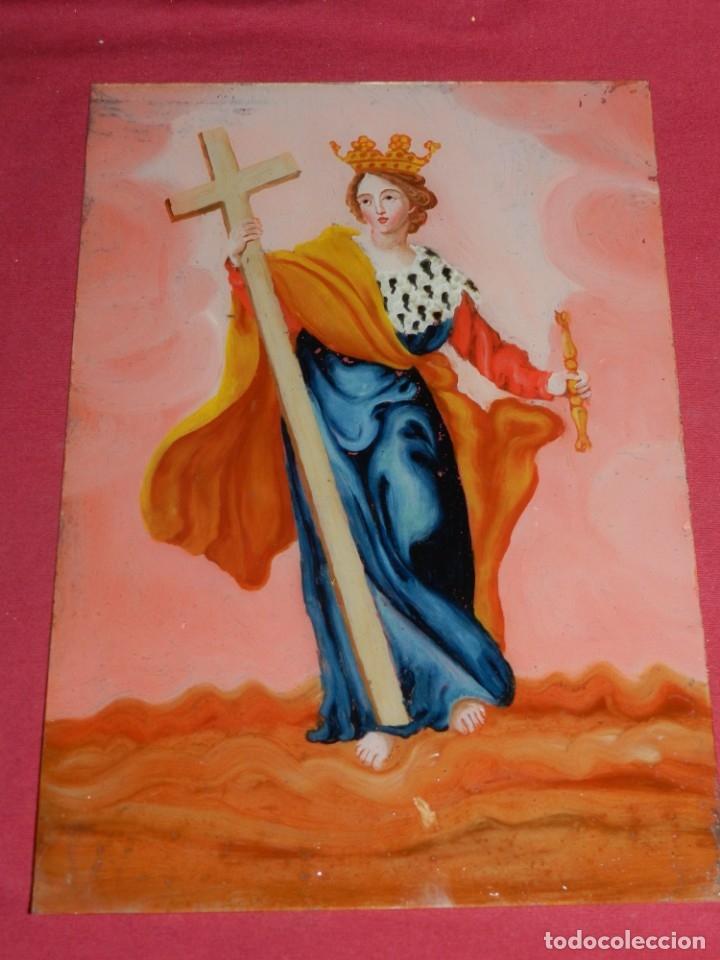 Arte: (M) Cristal Pintado Virgen Siglo XVIII - XIX 30,5x21,5 cm, Señales de Uso Normales - Foto 2 - 173120172