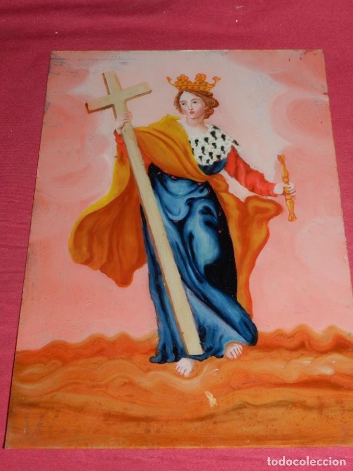 Arte: (M) Cristal Pintado Virgen Siglo XVIII - XIX 30,5x21,5 cm, Señales de Uso Normales - Foto 3 - 173120172