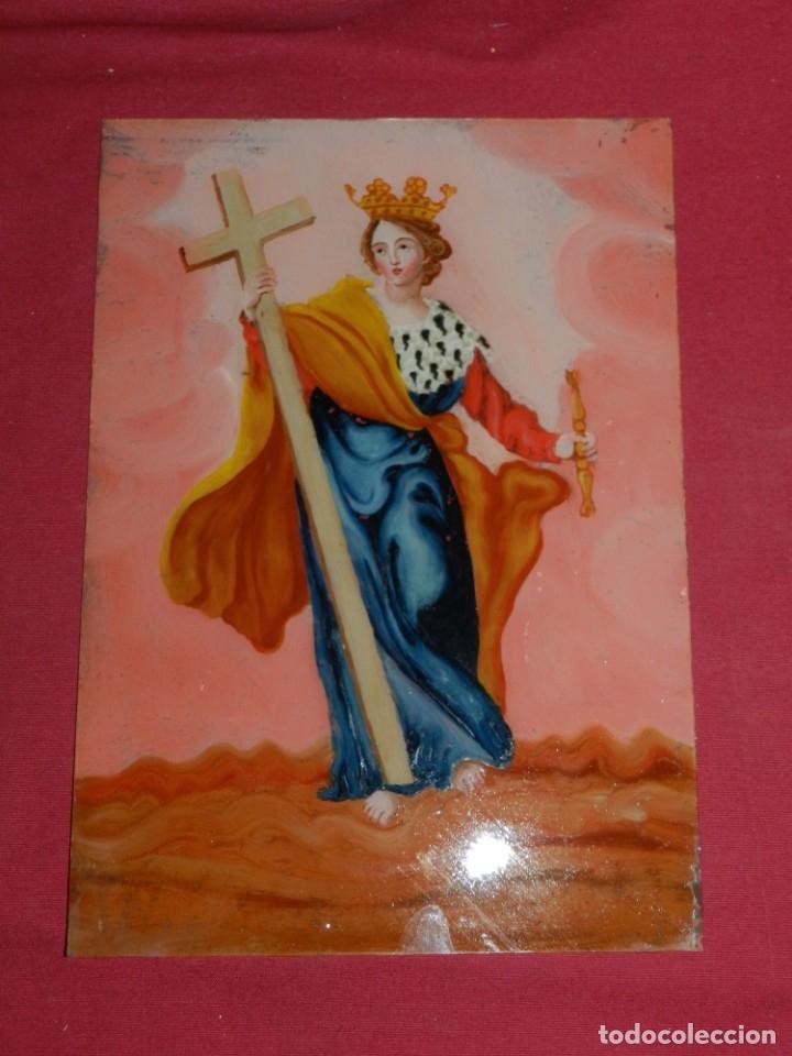 Arte: (M) Cristal Pintado Virgen Siglo XVIII - XIX 30,5x21,5 cm, Señales de Uso Normales - Foto 4 - 173120172