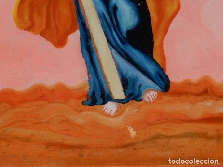 Arte: (M) Cristal Pintado Virgen Siglo XVIII - XIX 30,5x21,5 cm, Señales de Uso Normales - Foto 8 - 173120172