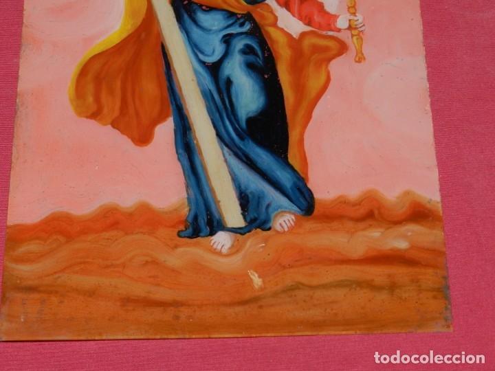 Arte: (M) Cristal Pintado Virgen Siglo XVIII - XIX 30,5x21,5 cm, Señales de Uso Normales - Foto 9 - 173120172