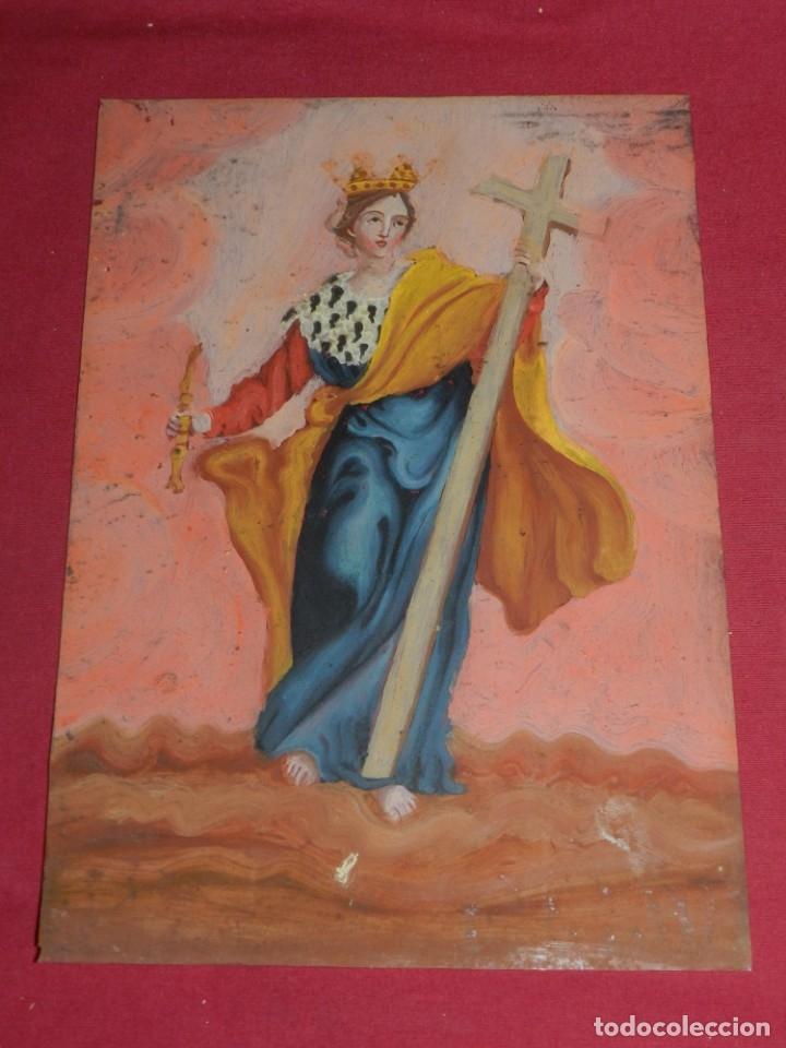 Arte: (M) Cristal Pintado Virgen Siglo XVIII - XIX 30,5x21,5 cm, Señales de Uso Normales - Foto 10 - 173120172