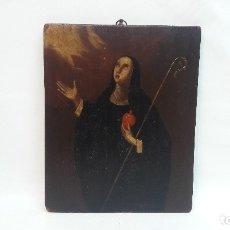 Arte: OLEO SOBRE TABLA SIGLO XVIII, SANTA GERTRUDIS, MEDIDAS 23X28 CM. . Lote 173122628