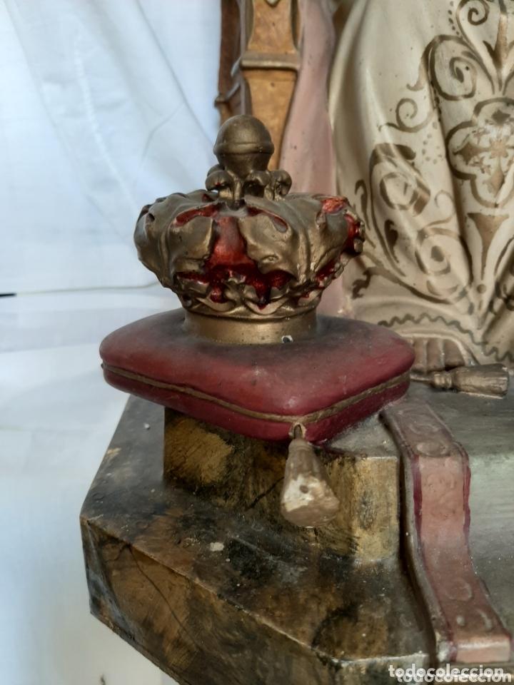 Arte: Talla Sagrado Corazón entronizado con ojos de cristal - Foto 3 - 33255492