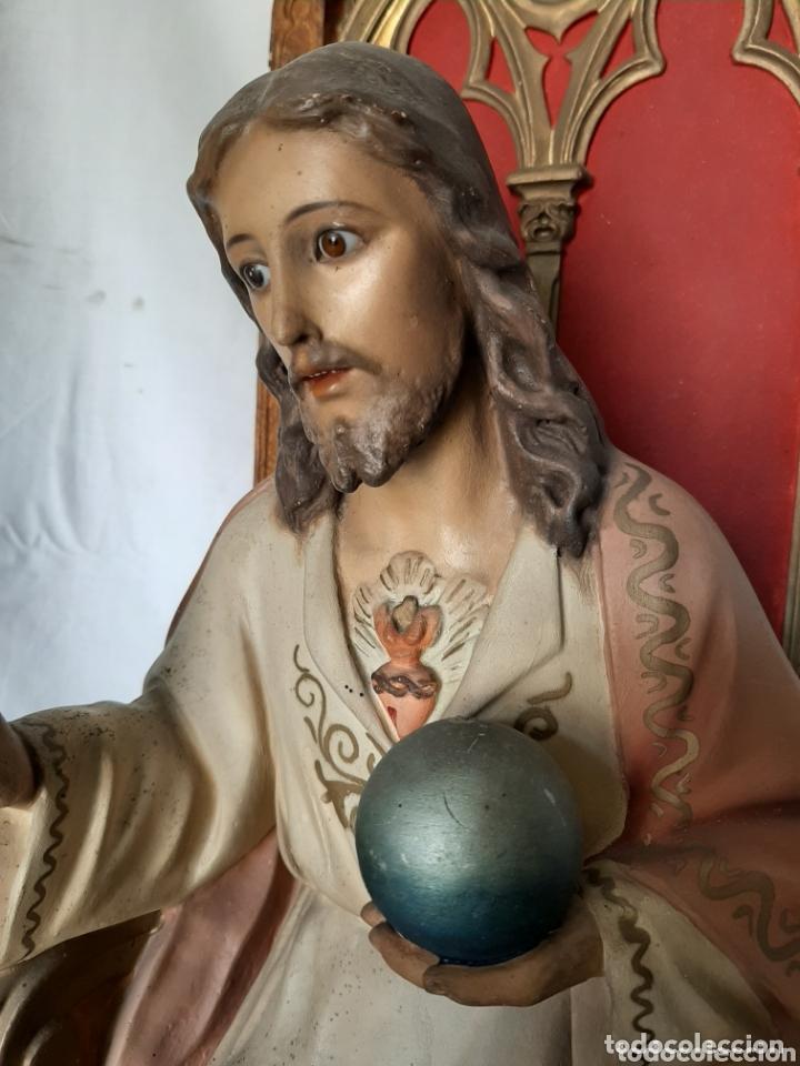 Arte: Talla Sagrado Corazón entronizado con ojos de cristal - Foto 6 - 33255492