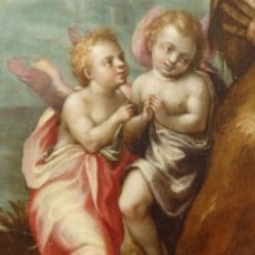 Arte: SAN JUAN EL BAUTISTA RODEADO DE ÁNGELES. ÓLEO SOBRE TABLA. 55 X 39 CM. ESC. ITALIANA. S. XVI.. Lote 173167127