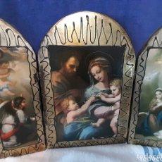 Art: TRÍPTICO ANTIGUO RELIGIOSO SOBRE MADERA. Lote 173237899