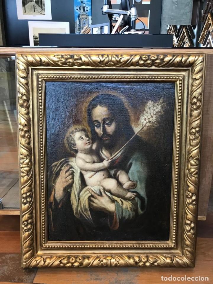 ESCUELA ESPAÑOLA DEL SIGLO XVIII. SAN JOSÉ Y EL NIÑO. LIENZO 64X48. (Arte - Arte Religioso - Pintura Religiosa - Oleo)